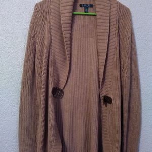 Ralph Lauren Brown with Leather Clasp Cardigan